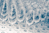 Many Empty Wineglasses Upside Down — Stock Photo