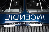 Blue Firetruck Details of the Front with Wording — Stock Photo