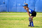 Softball Player Ready for the Next Play — Stock Photo