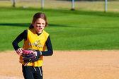 Softball Player Running Off the Field — Stock Photo