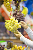 Woman buys fruits and vegetables at a market — Стоковое фото