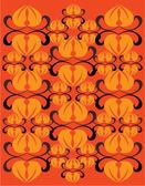 Orange floral invitation card — Stock Vector