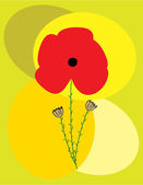 Poppy flower invitation card — Stock Vector