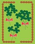 Lucky clover invitation card — Stock Vector