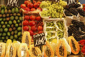 Display of fruit on market stall. Barcelona. Spain — Stock Photo