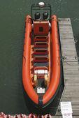 Orange RIB in Brighton Marina. Sussex. England — Stock Photo