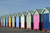 Beach huts on Brighton seafront. England — Foto Stock