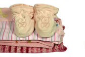 Baby rompers and booties — Stock Photo