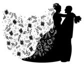 Just married couple silhouette — Stock Photo