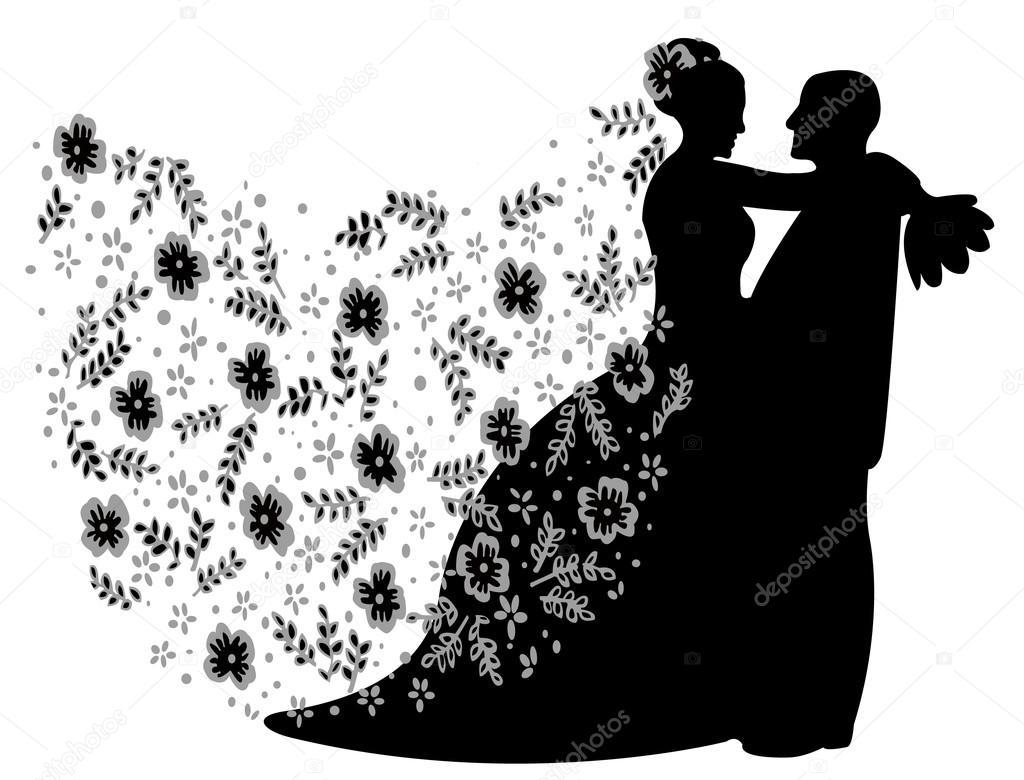 Silueta De Pareja De Recién Casados