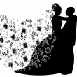 Royalty-Free Stock Immagine Vettoriale: Just married couple silhouette