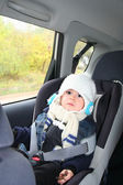 Baby in car seat for safety, — Stock Photo