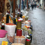 Market selling oriental ingredients on the street — Stock Photo #24423075