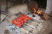 Famous turkish meal kebab, on grill — Stock Photo