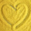 Heart shape on wheat as background  — Stock Photo