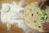"Making homemade turkish pastry named ""gozleme"" — Stock Photo"