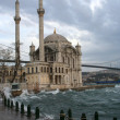 Stock Photo: Ortakoy Mosque on wind, rainy weather, Turkey
