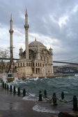 Ortakoy Mosque on a wind, rainy weather, Turkey — Stock Photo