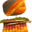 Stock Photo: Knitting colorful wool, as hobby