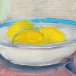 Lemons in plate painting, oil on canvas — Foto Stock #25838369