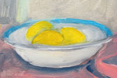 Lemons in plate painting, oil on canvas — Stock Photo