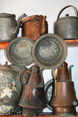 Old antique pots as souvenir at shop — Stock Photo