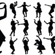 Dancing girls silhouette — Stock Photo