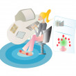 Lady working at her home office, with slippers on carpet, vector  — Stock Vector