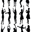 Dancing girls silhouette, vector — Stock Vector