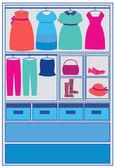 Uma criança escolhendo o vestido azul — Vetor de Stock