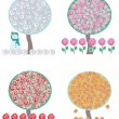 Trees in four season, vector — Stock Photo