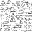 Funny childish drawn cars as background, vector — Stok Fotoğraf #28573533