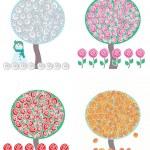 Trees in four season, vector — Stock Vector