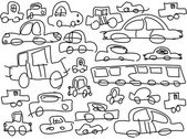 Funny childish drawn cars as background, vector — Stock Vector