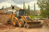 Excavator loader machine works outdoors — Stock Photo