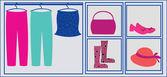 Tillbehör och dukar på garderob — Stockvektor