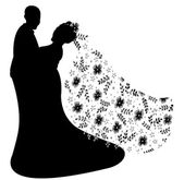 Just married couple silhouette, vector — Stock Vector