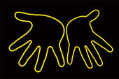 Pair hands silhouette — Stock Photo