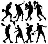 Tennis player boy silhouette vector — Stock Vector