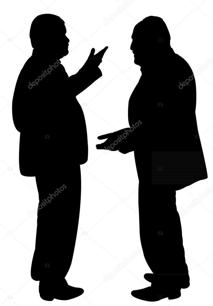 Descargar - Siluetas negras de dos hombres de pie y hablando entre sí ...