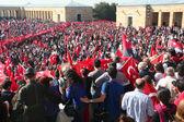 People celebrating the foundation of the Republic of Turkey. Photo taken at 29 th October, 2013, in Ankara, Turkey — Stock Photo