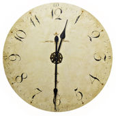Old antique wall clock isolated on white — Stock Photo