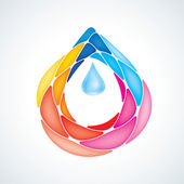 Abstract Puzzle Water Drop Symbol. Icon. EPS10 — Stock Vector