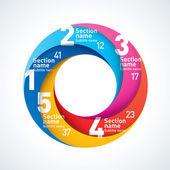 Abstraktní Nekonečný papír infografiky. tvar kruhu 5 kusů — Stock vektor