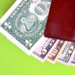 Banknotes and wallet — Stock Photo