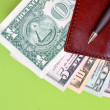 Banknotes, purse and pen — Stock Photo