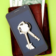 Wallet, banknotes, the cell phone, and keys from doors — Stock Photo