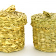 Wattled basket from a reed — Stock Photo