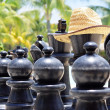 Big chess for game on a beach — Stock Photo