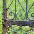 The old rusty lock on gate — Stock Photo